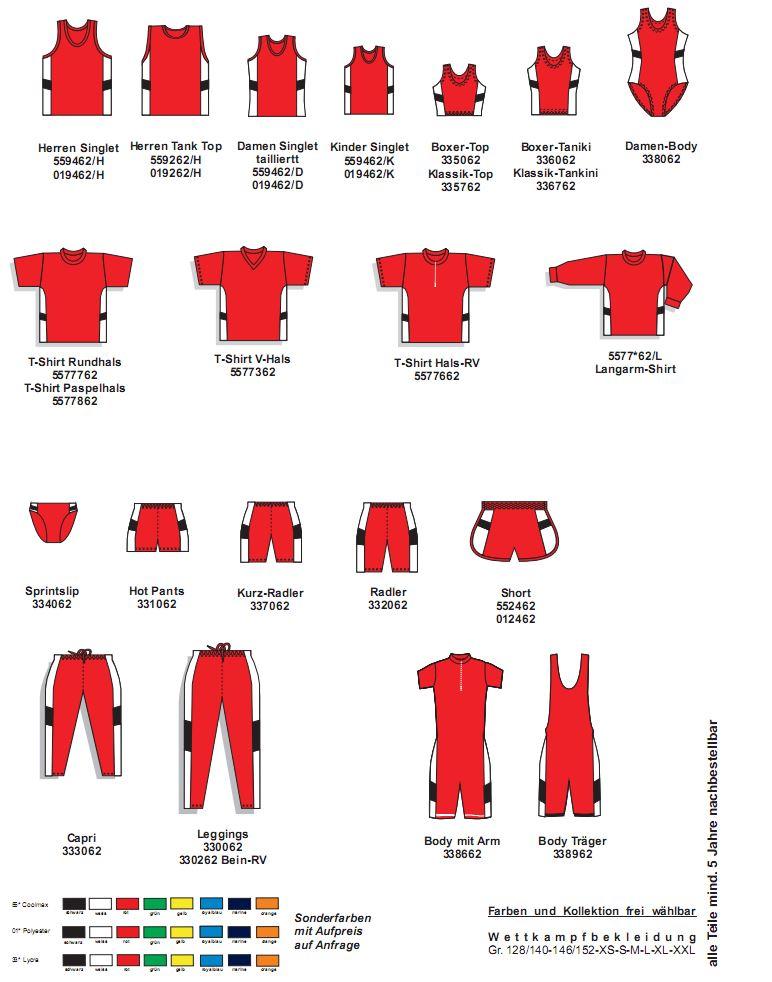 Leichtathletik Kollektion Primero (drei oder vierfarbig Seitenstreifen mit Einsatz)